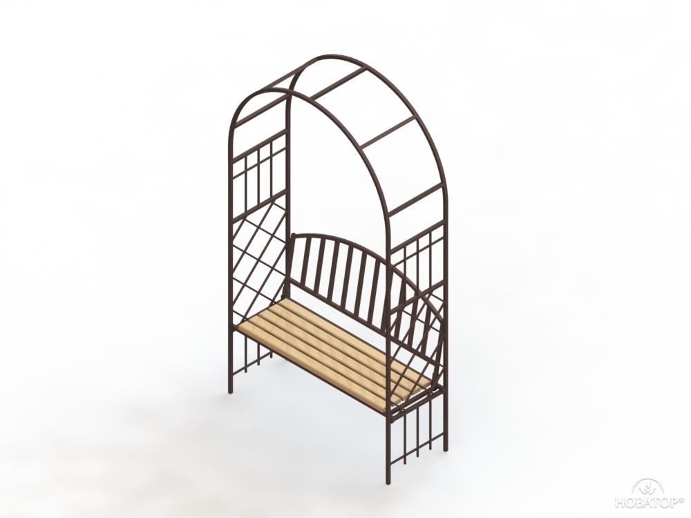 Арка садовая металлическая со скамейкой